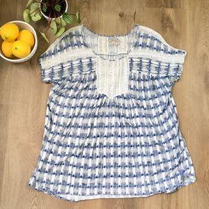 Lucky Brand Blue & White Boho Peasant Blouse sz L